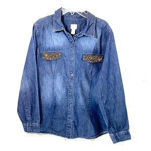 Chico's chambray beaded buttons down shirt size 2